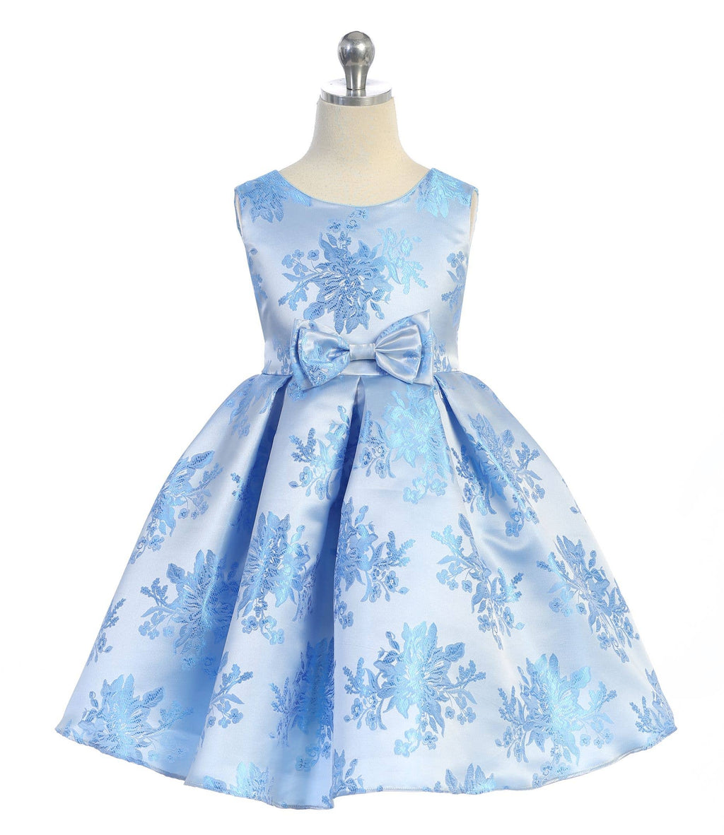 Ellie Kids - Aqua Double Bow Floral Jacquard Dress