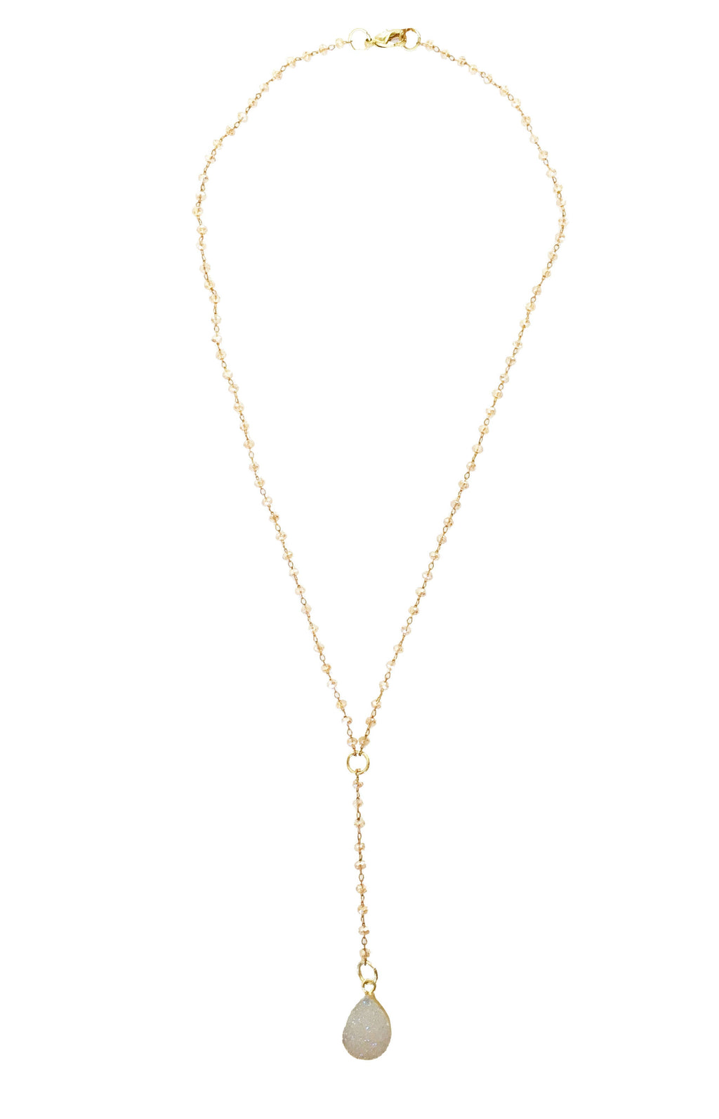 Champagne Crystal White Druzy Lariat Necklace