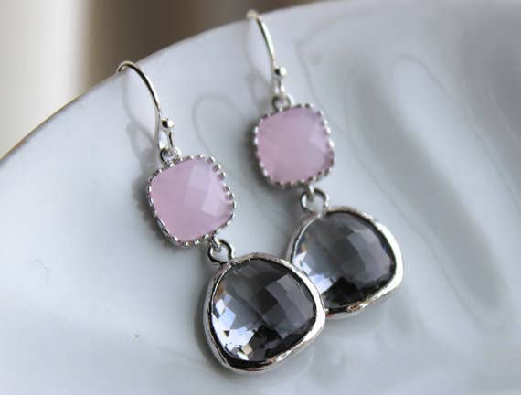 Charcoal Gray Earrings Pink Earring