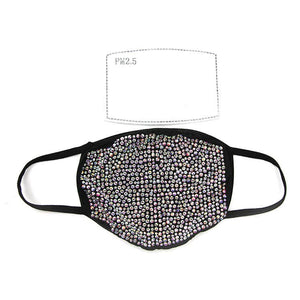Rhinestone Clear Beads Face Mask