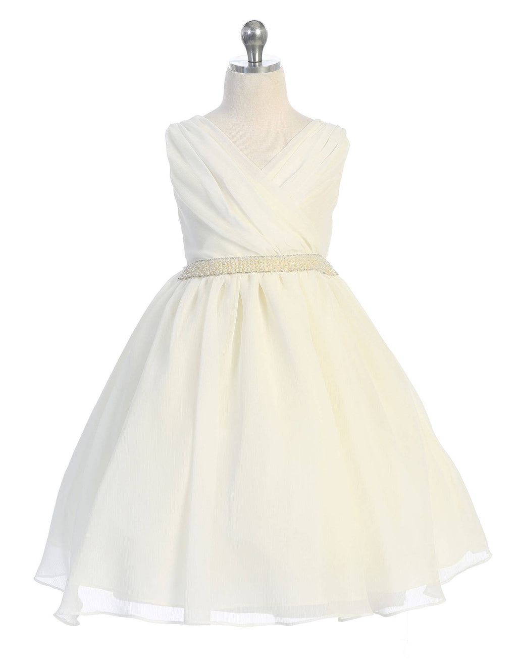 Ivory Cross Body Chiffon Dress