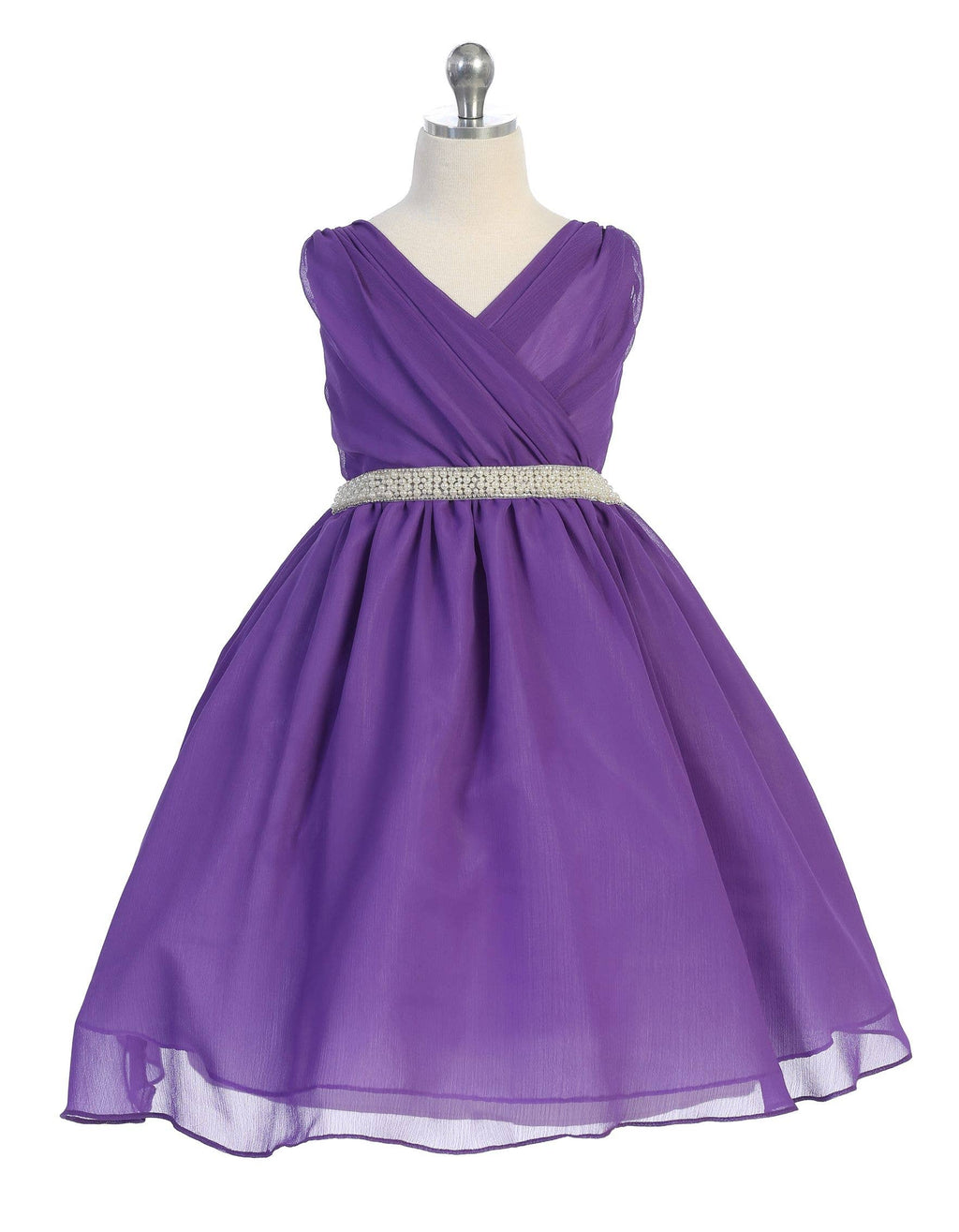 Purple Cross Body Chiffon Dress