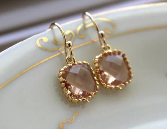 Dainty Champagne Blush Earrings