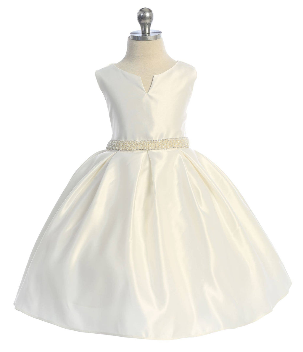 Ivory Dull Satin Pearl Stone Dress