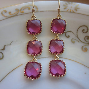 Fuchsia Earrings Hot Pink Gold