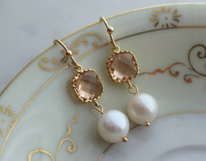 Gold & Blush Pearl Earrings