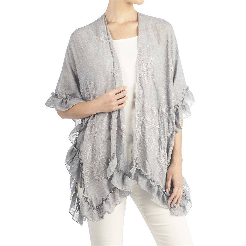 Esperanza Ruffled Ruana Grey One Size