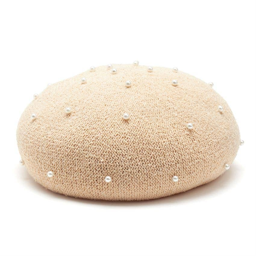 Packable Pearl Beret Natural