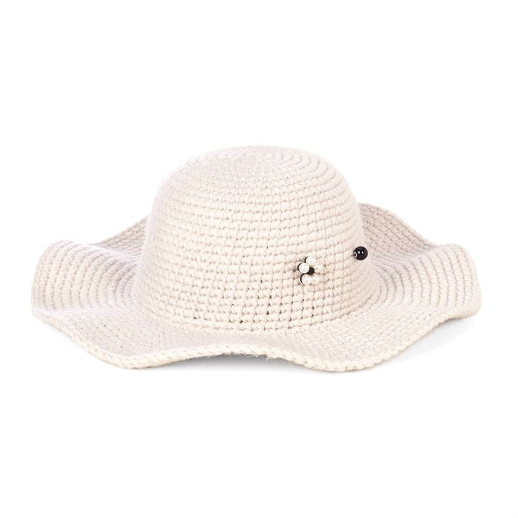 Packable Floppy Hat With Stick Pin- Buff