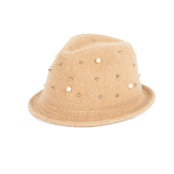 Packable Pearl Encrusted Fedora- Camel