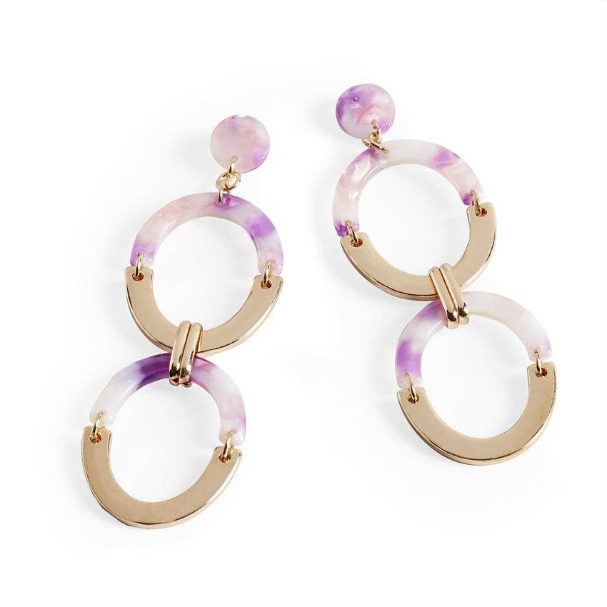 Mulberry Double Oval Earrings Purple