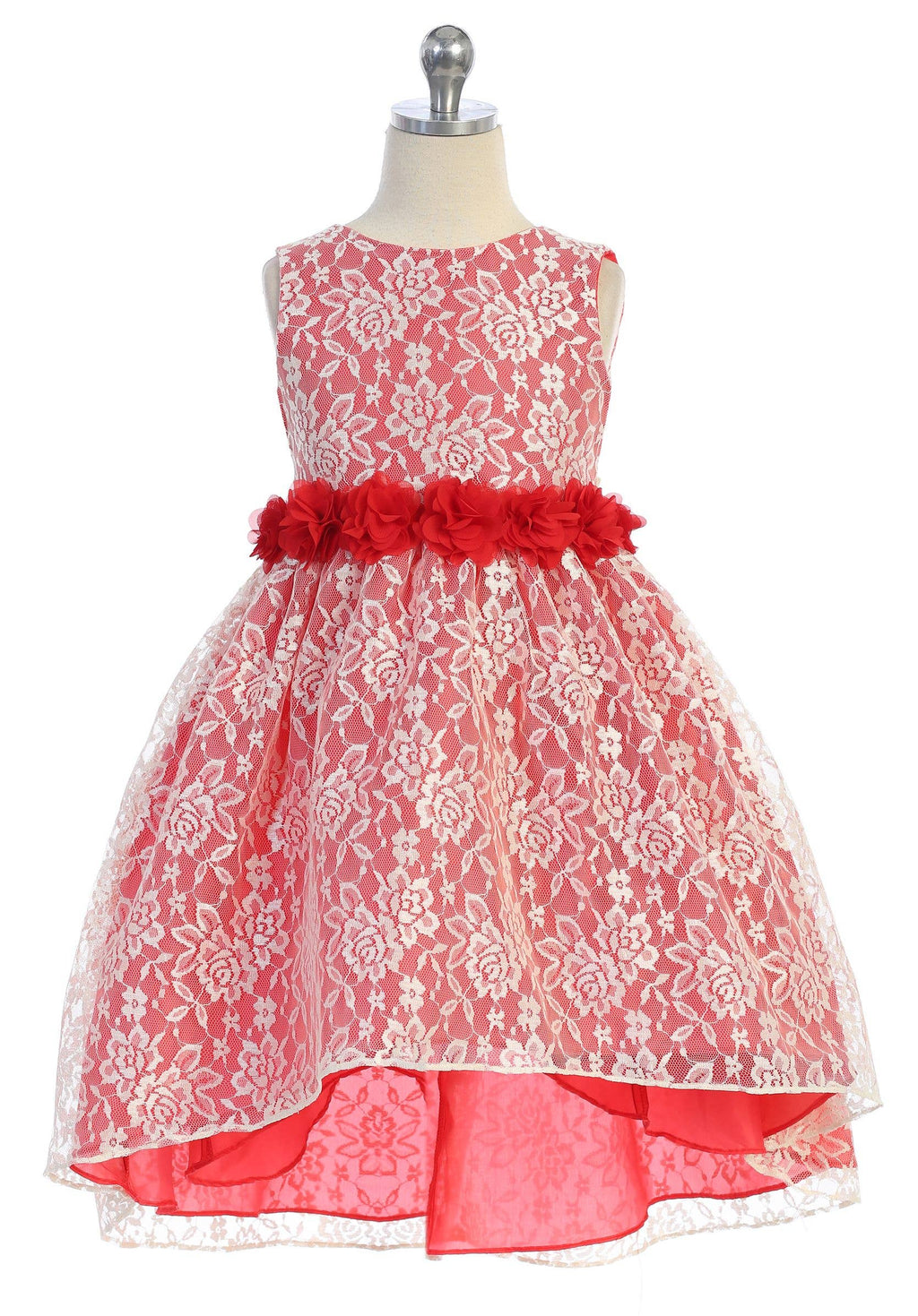 Red-Ivory Hi-Lo Embroidery Lace Floral Dress