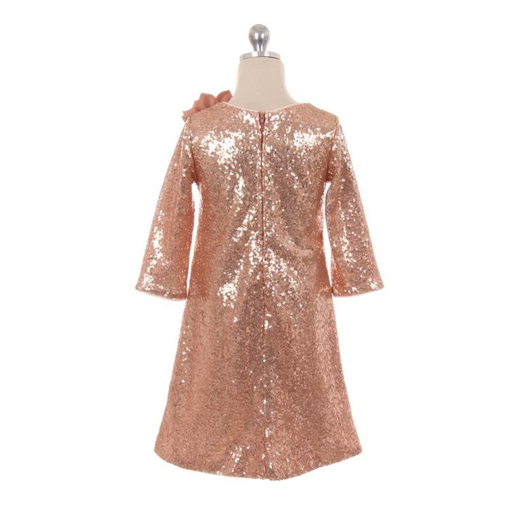 Rose Gold 3/4 sleeve Sequin Dress