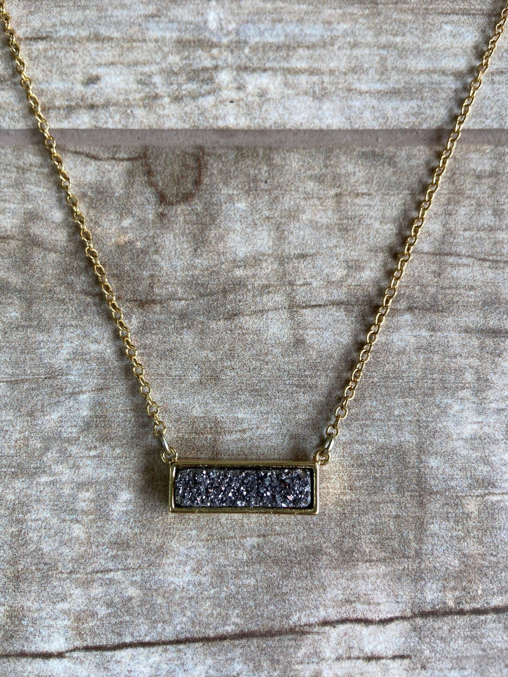 Silver Druzy GOLD Necklace 16-18""