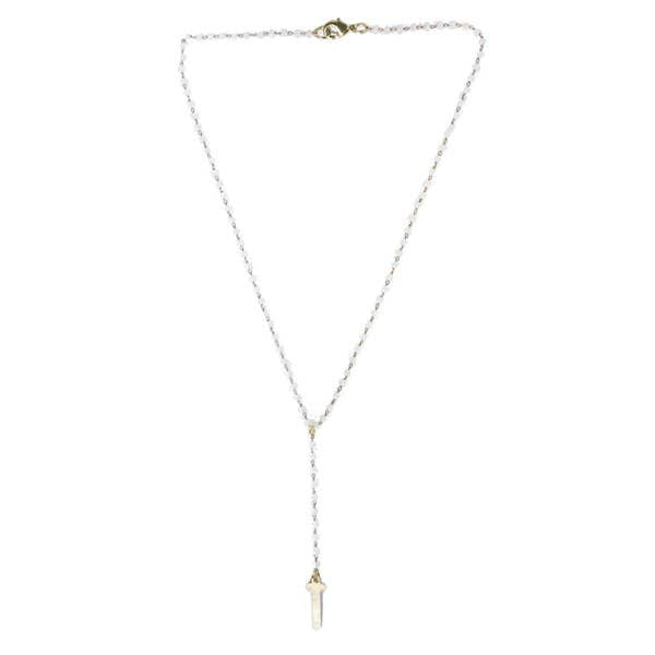 White Crystal Cross Lariat Necklace