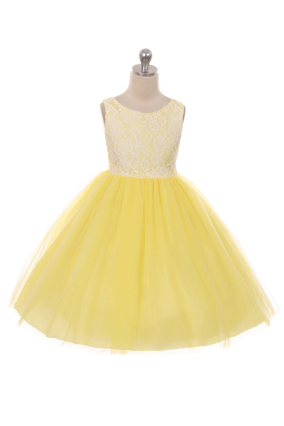Yellow - Lace Illusion Dress
