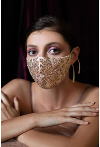 Champagne & Gold Sequin Bridal Face Mask