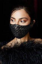 Black Lace and Beading Face Mask