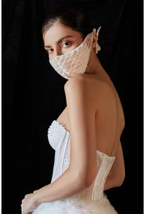 White Lace and Beading Face Mask