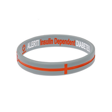 Load image into Gallery viewer, Diabetes Insulin Dependent Grey/Orange cross Reversible Wristband
