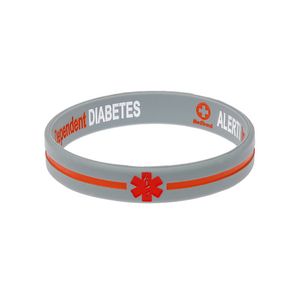 Diabetes Insulin Dependent Grey/Orange cross Reversible Wristband