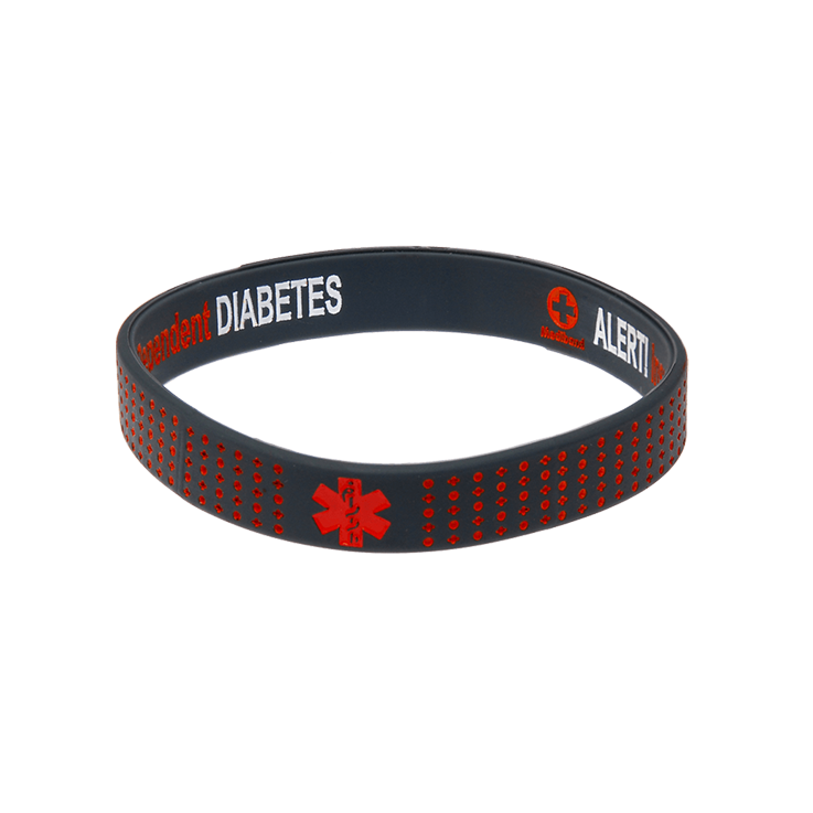 Diabetes Insulin Dependent - Red Dots Reversible Wristband