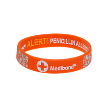 Load image into Gallery viewer, Penicillin Allergy Orange Floral - Reversible Design Wristband