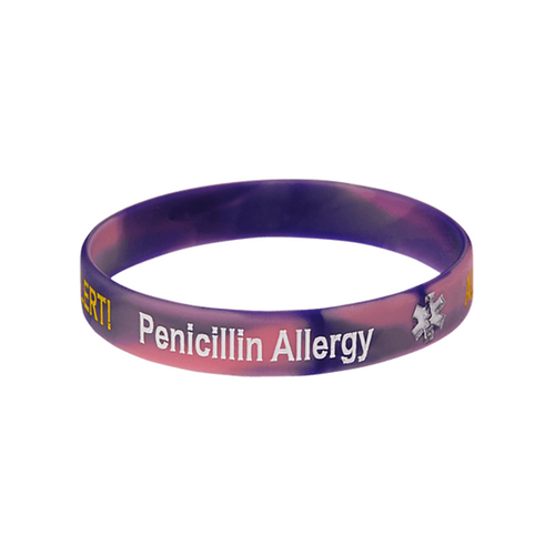 Penicillin Allergy Purple Swirl Wristband