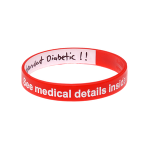 Diabetes - Red Reversible Write On Wristband