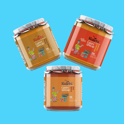 Three On A Spree - 2 Veg/ Paneer & 1 Non-Veg Curry Spreads | Value Pack of 3