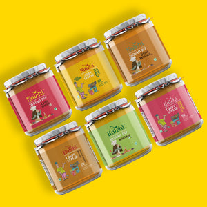 Best Of India - 3 Veg Curry Spreads & 3 Indian Dips (100% Veg) | Value Pack of 6