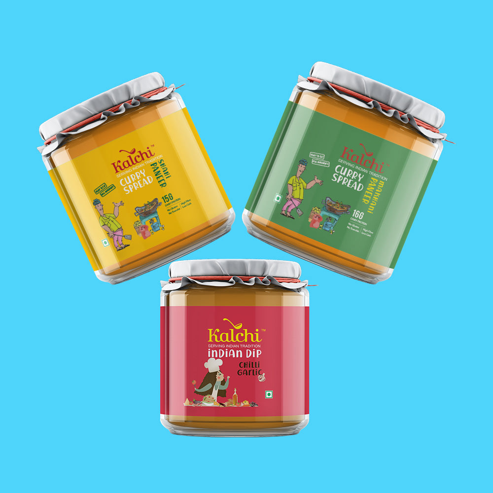 Three On A Spree - 2 Veg Curry Spreads & 1 Indian Dip | Value Pack of 3