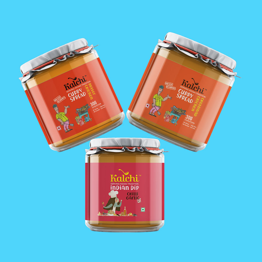 Three On A Spree - 2 Non-Veg Curry Spreads & 1 Indian Dip | Value Pack of 3