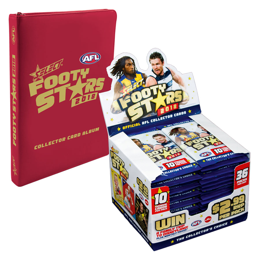 2018 FOOTY STARS BOX AND ALBUM BUNDLE - FREE SHIPPING