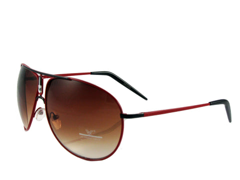 Sunglass Club Aviator Sunglass 1042 Series for Red with Black Trim and Brown Tint Lens 1042-RED-BLACK-BROWN-B
