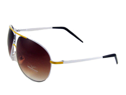 Sunglass Club Aviator Sunglass 1042 Series for Yellow with White Trim and Brown Tint Lens 1042-YELLOW-WHITE-BROWN-B