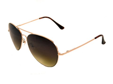 Sunglass Club Aviator Sunglass 7033 Series for Gold with Brown Tint Lens 7033-GOLD-BROWN-B