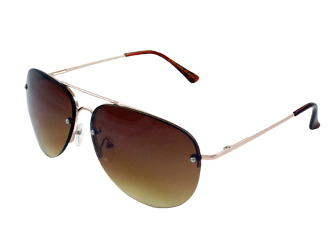 Sunglass Club Aviator Sunglass 7034 Series for Gold with Brown Tint Lens 7034-GOLD-BROWN-B