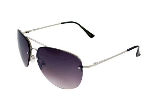 Sunglass Club Aviator Sunglass 7034 Series for Silver with Purple Tint Lens 7034-SILVER-PURPLE-B