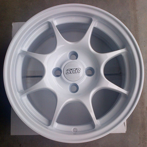 SRR Sport Performance Wheels P8014 15x6.5 4x100 et42 64.1 CB 1994-2001 Acura Integra (WHITE)