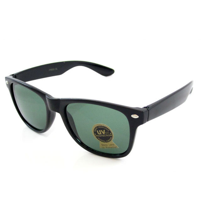Sunglass Club Wayfarer Sunglass 8032GL Series for Black with Gray/Green Tint Glass Lens 8032GL-BLACK-B