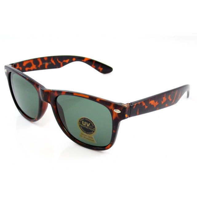 Sunglass Club Wayfarer Sunglass 8032GL Series for Brown Tortoise Shell and Gray/Green Tint Glass Lens 8032GL-TORTOISEBROWN-B