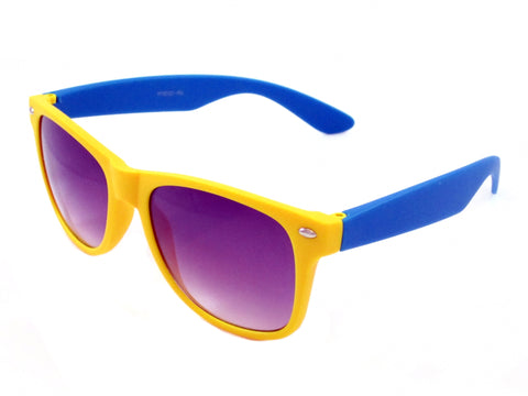 Sunglass Club Wayfarer Sunglass 8032RN Series for Yellow with Light Blue Frame Sides and Purple Tint Lens 8032RN-YELLOW-LIGHTBLUE-PURPLE-B