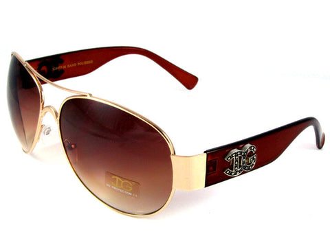 Sunglass Club Aviator Sunglass 8977 Series for Gold with Brown Frame Sides and Brown Tint Lens 8977-GOLD-BROWN-BROWN-B