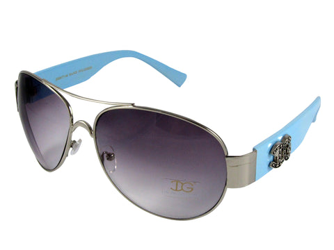Sunglass Club Aviator Sunglass 8977 Series for Silver with Light Blue Frame Sides and Purple Tint Lens 8977-SILVER-LIGHTBLUE-PURPLE-B