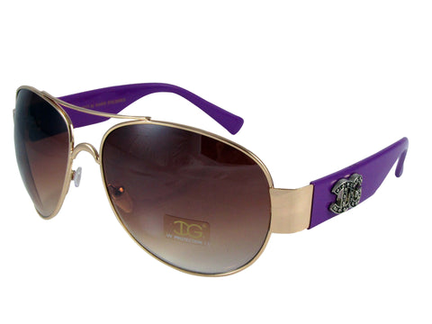 Sunglass Club Aviator Sunglass 8977 Series for Silver with Purple Frame Sides and Brown Tint Lens 8977-SILVER-PURPLE-BROWN-B