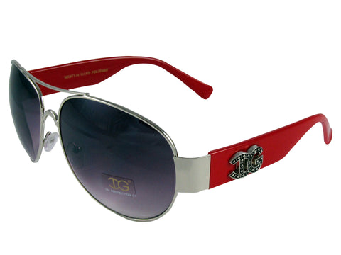 Sunglass Club Aviator Sunglass 8977 Series for Silver with Red Frame Sides and Purple Tint Lens 8977-SILVER-RED-PURPLE-B