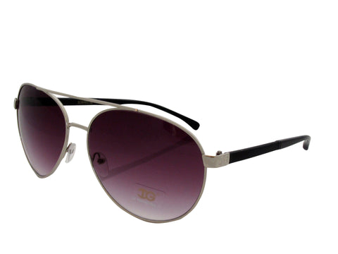 Sunglass Club Aviator Sunglass 8993 Series for Black with White Sides and Purple Tint Lens 8993-BLACKWHITE-B