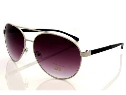 Sunglass Club Aviator Sunglass 8993 Series for Silver with Black Sides and Purple Tint Lens 8993-SILVER-BLACK-PURPLE-B