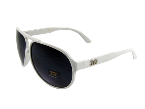 Sunglass Club Aviator Sunglass 9001 Series for White with White Band and Blue Tint Lens 9001-WHITE-WHITE-BLUE-B